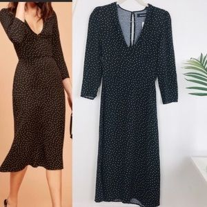 Reformation Polka Dot Mabel Long Sleeve Midi Dress
